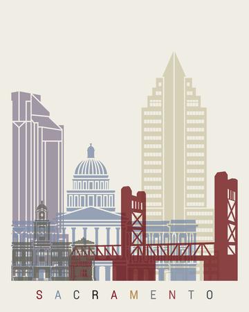 Sacramento skyline poster in editable vector file