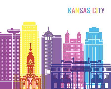 bright: Kansas City skyline pop in editable vector file Illustration