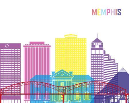 bright: Memphis skyline pop in editable vector file
