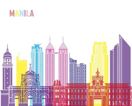 Manila skyline pop in editable vector file