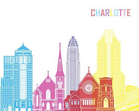 charlotte: Charlotte skyline pop in editable vector file