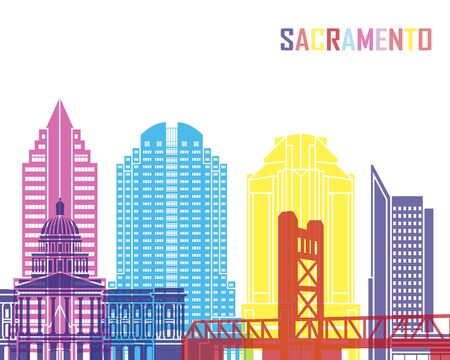 Sacramento V2 skyline pop in editable vector file Illustration