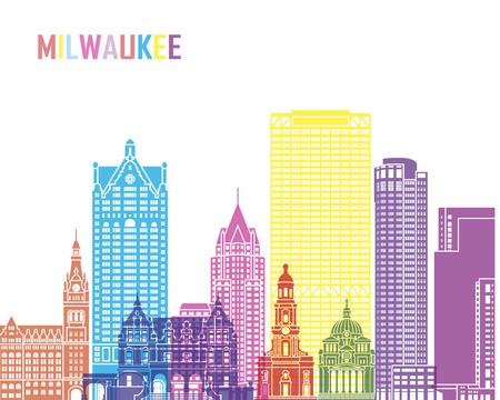Milwaukee: Milwaukee V2 skyline pop in editable vector file