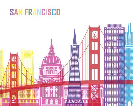 編集可能なベクトル ファイルでポップ、サンフランシスコ V2 スカイライン  イラスト・ベクター素材