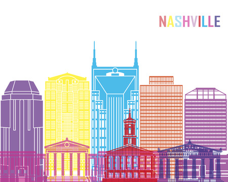 Nashville V2 skyline pop in editable vector file. Stock Vector - 71485210