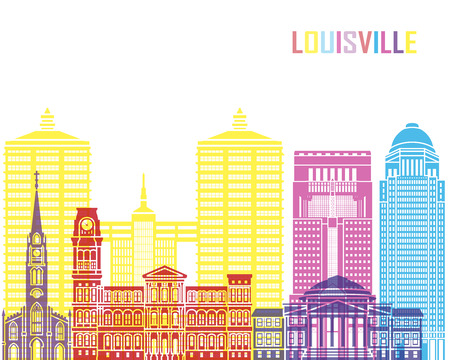 cityscapes: Louisville skyline pop in editable vector file.
