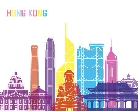 hong kong skyline: Hong Kong skyline pop in editable vector file. Illustration
