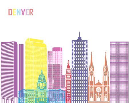 Denver skyline pop in editable vector file.