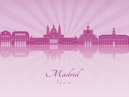 horizons: Madrid V2 skyline in purple radiant orchid in editable vector file