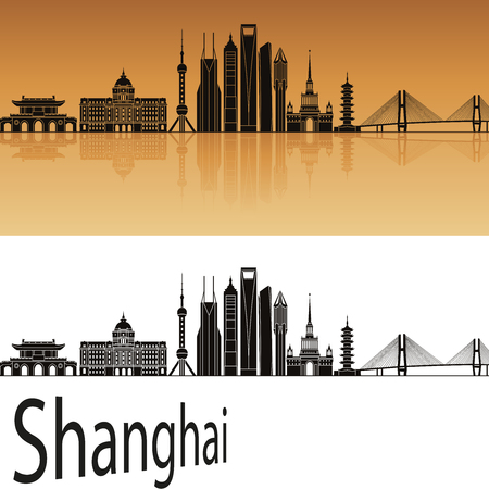 shanghai skyline: Shanghai V2 skyline in orange background in editable vector file Illustration
