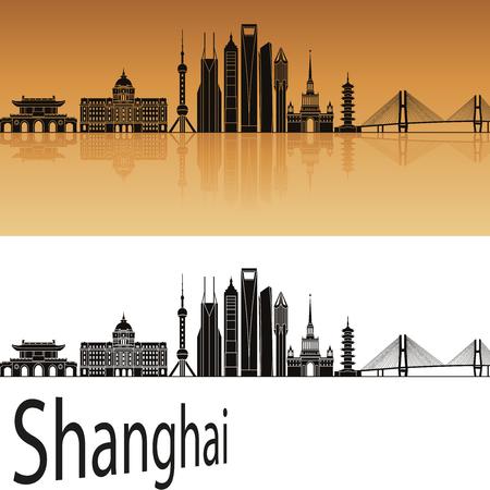 Shanghai V2 skyline in orange background in editable vector file Illustration