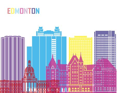 Edmonton V2 skyline pop in editable vector file