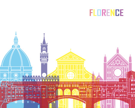 Florence skyline pop in editable vector file Ilustrace