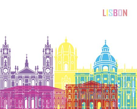 Lisbon V2 skyline pop in editable vector file Illustration