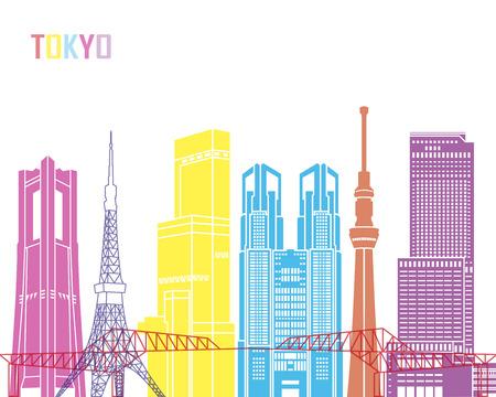 Tokyo V3 skyline pop in editable vector file