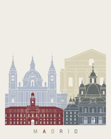 Madrid V2 skyline poster in editable vector file
