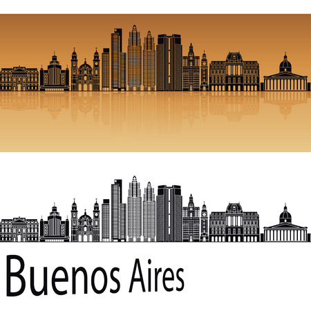 Buenos Aires V2 skyline in orange background in editable vector file
