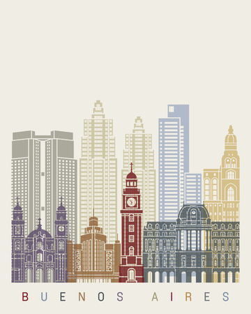 south america: Buenos Aires V2  skyline poster in editable vector file