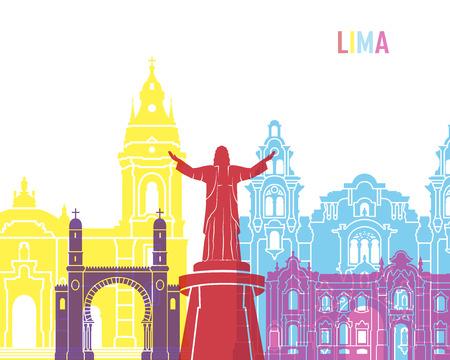 monumento: Lima skyline pop in editable vector file Vectores