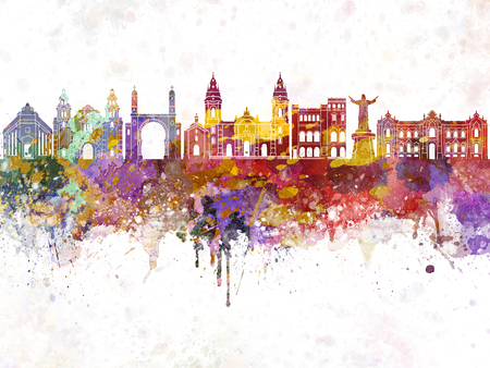 Lima skyline in watercolor background