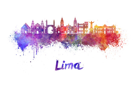 Lima skyline in watercolor splatters with clipping path Stock Photo