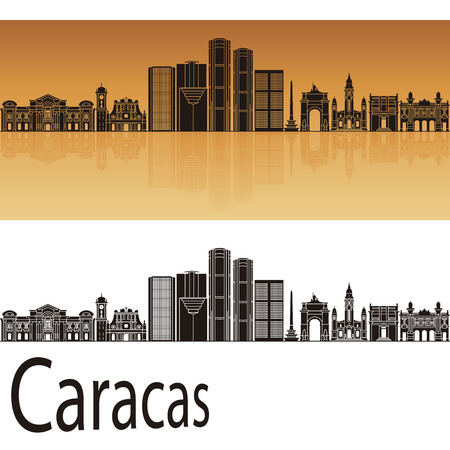 Caracas V2 skyline in orange background in editable vector file
