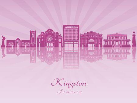 Kingston skyline in purple radiant orchid in editable vector file