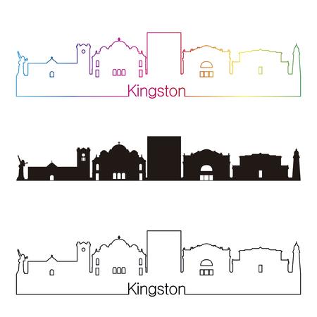 Kingston skyline linear style with rainbow in editable vector file Ilustração