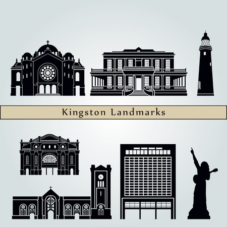 Kingston landmarks and monuments isolated on blue background in editable vector file