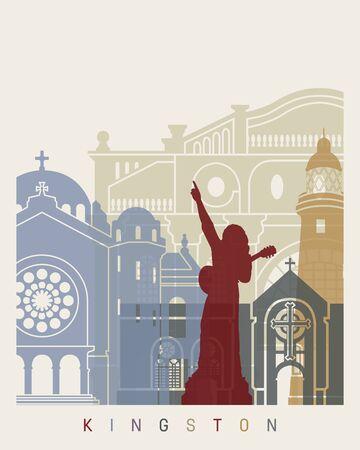 Kingston skyline poster in editable vector file