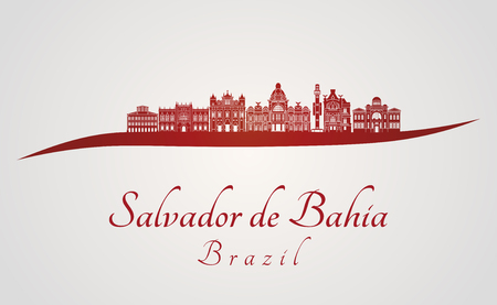 Horizon de Salvador de Bahia V2 sur fond rouge et gris en fichier vectoriel éditable