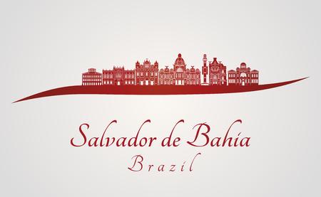 Salvador de Bahia V2 skyline in red and gray background in editable vector file Ilustração