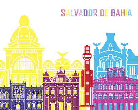Salvador de Bahia V2 skyline pop in editable vector file Ilustração