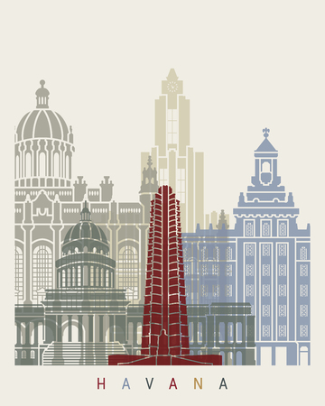 Havana V2 skyline poster in editable vector file Ilustração