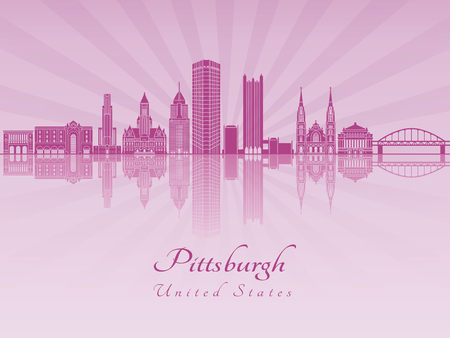 Pittsburgh V2 skyline in purple radiant orchid in editable vector file