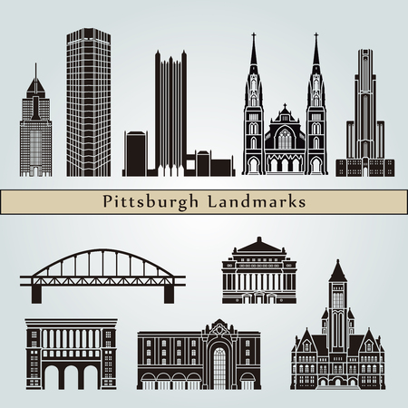 Pittsburgh V2 landmarks and monuments isolated on blue background in editable vector file