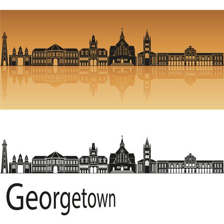 georgetown: Georgetown skyline in orange background in editable vector file