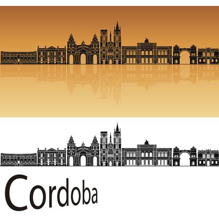 ar: Cordoba AR skyline in orange background in editable vector file Illustration