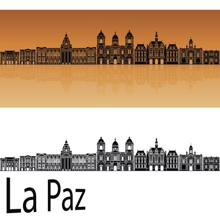 La Paz skyline in orange background in editable vector file Ilustração