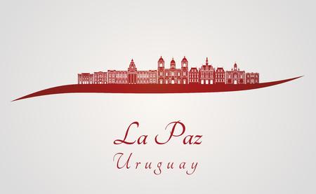 La Paz skyline in red and gray background in editable vector file Ilustração