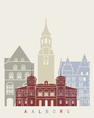 Aalborg skyline poster in editable vector file Illustration