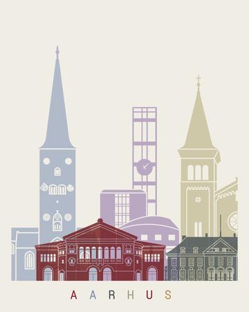Aarhus skyline poster in editable vector file Illustration