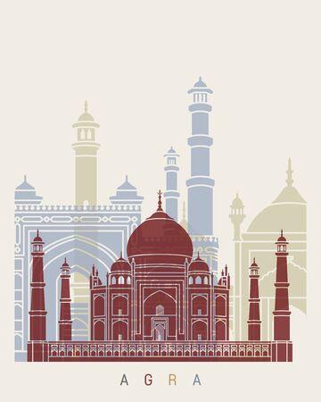 agra: Agra skyline poster in editable vector file Illustration
