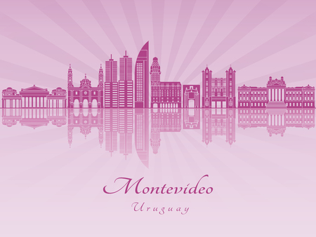 Montevideo skyline in purple radiant orchid in editable vector file