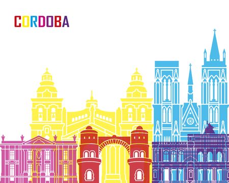 Cordoba AR skyline pop in editable vector file
