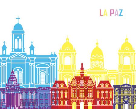 La Paz skyline pop in editable vector file