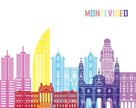 Montevideo skyline pop in editable vector file