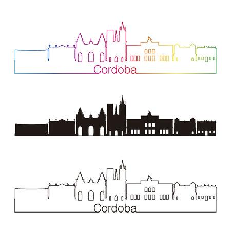 ar: Cordoba AR skyline linear style with rainbow in editable vector file