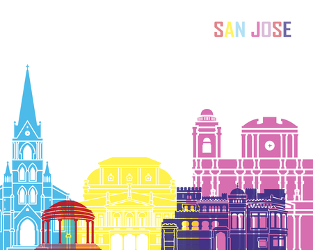 cr: San Jose CR skyline pop in editable vector file Illustration