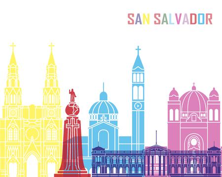 San Salvador skyline pop in editable vector file